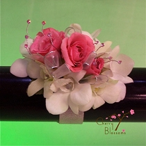 Pink Roses w/ White orchids