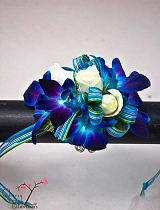 Blue Orchids/White Spray Roses