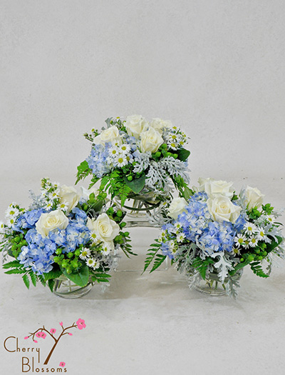 Blue And White Centerpieces : Blue and white centerpieces cherry blossoms florist