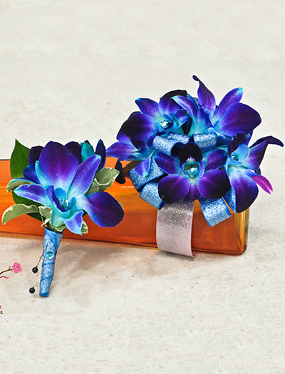 Corsage Amp Bout Blue Orchids Cherry Blossoms Florist