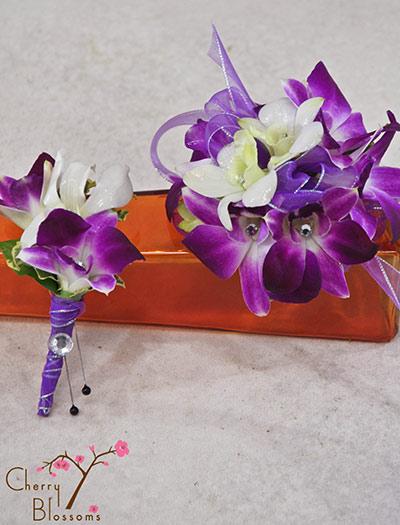 Purple Amp White Corsage Boutonniere Combo Cherry Blossoms