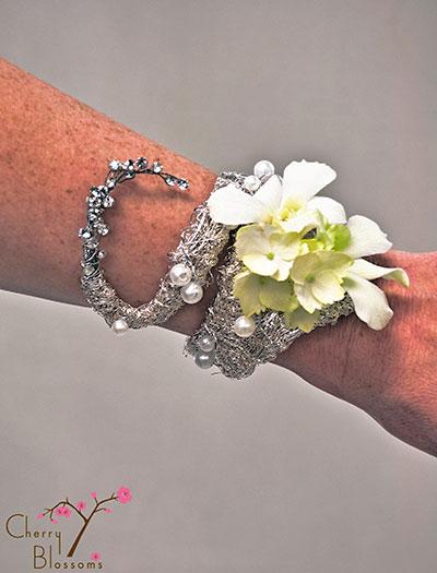 Custom Silver Bracelet Wrist Corsage Cherry Blossoms Florist