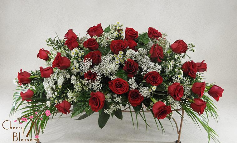 Red Rose Casket Cover Sympathy Cherry Blossoms Florist