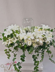 All White Cremation Flowers