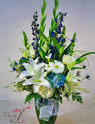 Blue and White Stately Vase