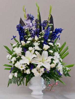 Stately Blue and White Urn